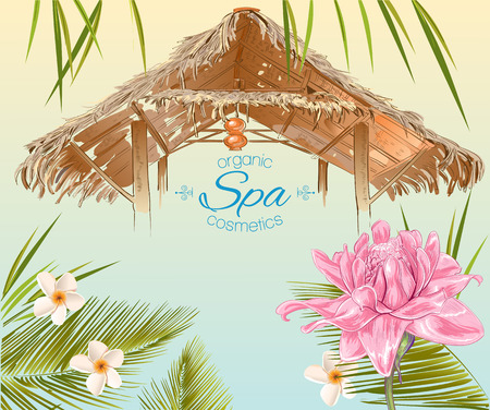Spa banner in exotic style with bungalow roof , palm leafs ,pink lotus and frangipani.Design for cosmetics, store,spa , beauty salon and travel agency.Vector illustration