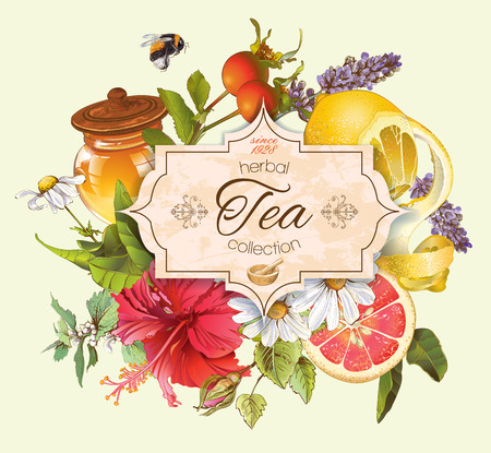 nettle: Vector vintage herbal tea banner with honey, hibiscus,lemon and rose hip.Design for tea, juice, natural cosmetics, baking,candy and sweets,grocery,health care products. With place for text.