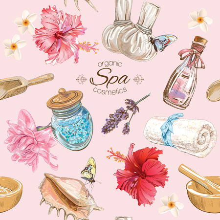 Vector spa seamless pattern with lotus,shells and hibiscus flowers.Background design for cosmetics, spa and beauty salon, organic health care products. Best for texture, fabric print, wrapping paper. Ilustração