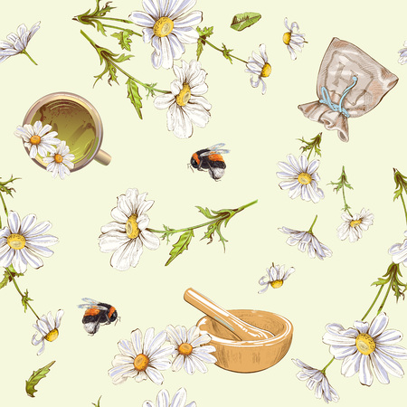 chamomile tea: Vector herbal seamless pattern with chamomile flowers. Background design for tea, homeopathy, herbal cosmetics, grocery,health care products. Best for fabric, textile, wrapping paper. Illustration