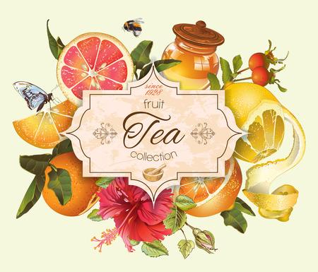 Vector de cítricos de la vendimia con la bandera de té de hibisco y honey.Design para el té, zumo, cosmética natural, el bicarbonato, caramelos y dulces con relleno de cítricos, comestibles, productos para el cuidado de la salud