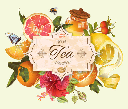 rosas naranjas: Vector de cítricos de la vendimia con la bandera de té de hibisco y honey.Design para el té, zumo, cosmética natural, el bicarbonato, caramelos y dulces con relleno de cítricos, comestibles, productos para el cuidado de la salud Vectores