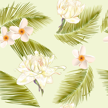 subtropical: Tropical flowers and palm leaves seamless pattern.Design for cosmetics, spa salon, summer background. Best for fabric design, textile, wrapping paper, scrapbook, wallpaper . Vector illustration Illustration