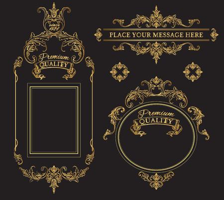 bebidas alcohÓlicas: elementos de oro caligráficos página de diseño de decoración y colección de etiquetas de calidad premium frames.Vintage. Mejor para el chocolate, cacao, bebidas alcohólicas y tabaco. ilustración vectorial