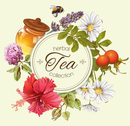Kruidenthee vintage banner met honing, rozenbottel en hibiscus flower.Design voor thee, honing, kruiden cosmetica, winkel, supermarkt, producten voor de gezondheidszorg. Stock Illustratie
