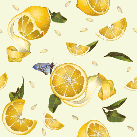 Vector lemon fruit seamless pattern with butterfly. Background design for tea, juice, cosmetics, baking, candy and sweets with citrus filling, jam, grocery. Best for fabric, textile, wrapping paper.