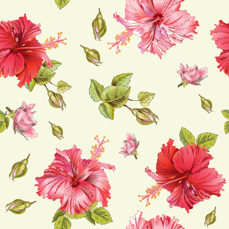 textile care: Vector seamless pattern with hibiscus flowers.Background design for tea, homeopathy, herbal cosmetics, grocery,health care products. Best for fabric, textile, wrapping paper.