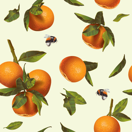 Vector citrus seamless pattern with orange and mandarin.Background design for tea, juice,cosmetics, baking, candy and sweets with citrus filling, jam, grocery.Best for print,