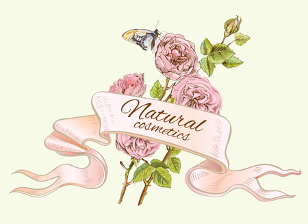 Rose colorful natural cosmetics ribbon banner. Design for cosmetics, perfume, store, beauty salon, natural and organic health care products. Can be used as greeting card. Vector illustration