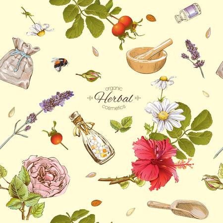 벡터 초본 화장품 야생 꽃과 허브와 함께 완벽 한 패턴. 화장품, 저장소, 뷰티 살롱, 자연 및 유기 제품에 대 한 배경 디자인. 텍스처, 패브릭 인쇄, 포장 일러스트