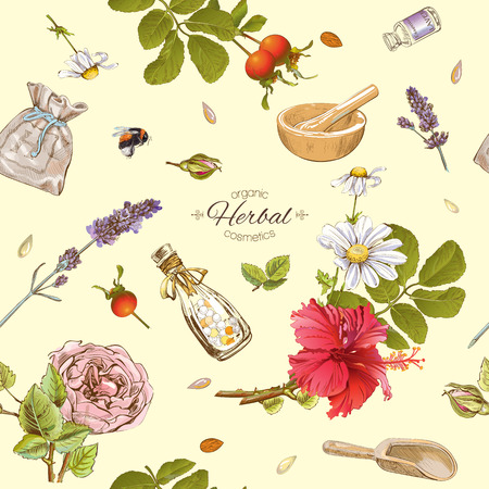Vector herbal cosmetics seamless pattern with wild flowers and herbs.Background design for cosmetics, store, beauty salon, natural and organic products.Best for texture, fabric print, wrapping paper.