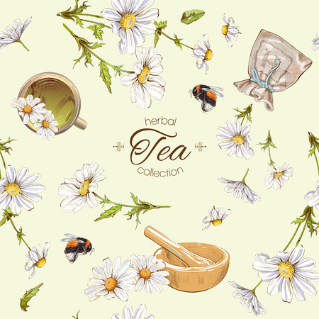 Vector herbal tea seamless pattern with chamomile flowers. Background design for tea, homeopathy, herbal cosmetics, grocery,health care products. Best for fabric, textile, wrapping paper.