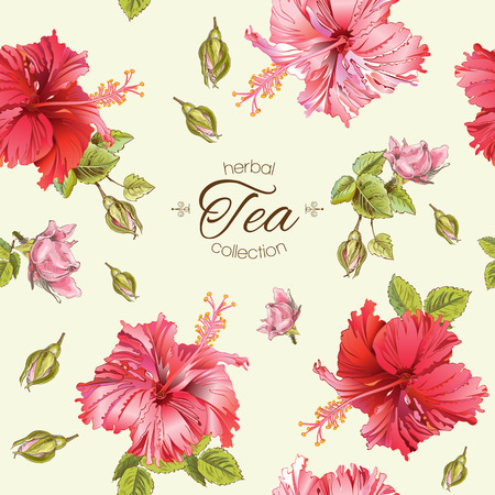 textile care: Vector herbal tea seamless pattern with hibiscus flowers.Background design for tea, homeopathy, herbal cosmetics, grocery,health care products. Best for fabric, textile, wrapping paper. Illustration