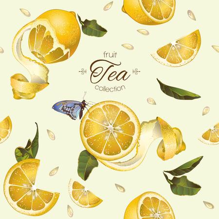 レモンと蝶ベクトル フルーツ紅茶シームレス パターン。ジュース、お茶、化粧品、食料品、ヘルスケア製品の背景デザイン。布、繊維、包装紙に最