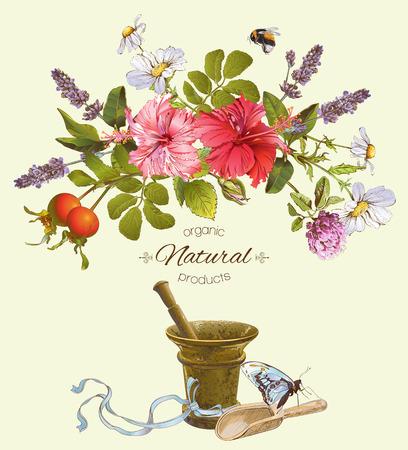 Vector natuurlijke producten banner met hibiscus bloemen, wilde kruiden en mortel. Ontwerp voor cosmetica, kruidenthee, parfum, winkel, schoonheidssalon, natuurlijke en biologische producten voor de gezondheidszorg.