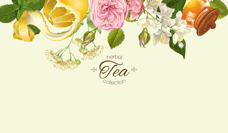 aroma: Vector herbal tea horizontal banner with rose and Jasmine flowers, lemon and honey. Design for tea, juice, natural cosmetics, baking,candy and sweets,grocery,health care products. With place for text.