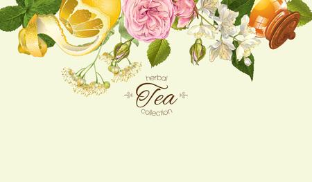 Vector tisane bannière horizontale de rose et fleurs de jasmin, de citron et de miel. Design for thé, jus, produits cosmétiques naturels, cuisson, bonbons et autres friandises, épicerie, produits de soins de santé. Avec place pour le texte.