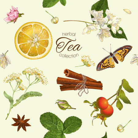 Vector herbal tea seamless pattern with linden,jasmine flowers,and cinnamon. Design for tea, natural cosmetics, baking,candy and sweets,grocery,health care products. Best for textile, wrapping paper. 일러스트