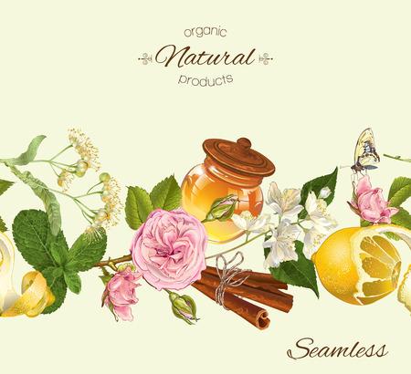 リンデン、ジャスミンの花、レモン、シナモンとハーブのシームレスなパターン。お茶、パン、お菓子やお菓子、食料品、健康食品、自然化粧品を