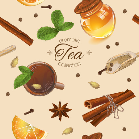 textile care: Vector aromatic tea seamless pattern with honey, mint and cinnamon. Design for tea, natural cosmetics, baking,candy and sweets,grocery,health care products. Best for textile, wrapping paper.