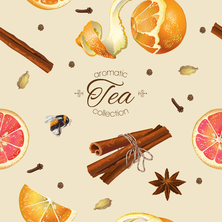 star anise: Vector spicy tea seamless pattern with orange ,star anise and cinnamon. Design for tea, natural cosmetics, baking,candy and sweets,grocery,health care products. Best for textile, wrapping paper.