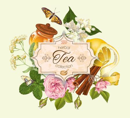 Kruidenthee vintage banner met linden en jasmijn bloemen, citroen en honing. Ontwerp voor thee, sap, natuurlijke cosmetica, bakken, snoep en snoep, kruidenier, producten voor de gezondheidszorg. Stock Illustratie