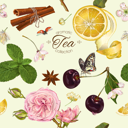 textile care: Vector aromatic tea seamless pattern with cherry, lemon and rose. Design for tea, natural cosmetics, baking,candy and sweets,grocery,health care products. Best for textile, wrapping paper.