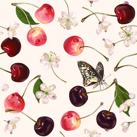 Vector cherry seamless pattern. Background design for juice, tea, natural cosmetics, bakery, sweets and candy with cherry filling, farmers marcet,health care products. Best for textile,wrapping paper.
