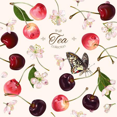Vector cherry thee naadloos patroon. Achtergrond ontwerp voor thee, sap, natuurlijke cosmetica, snoep en snoep met kers vullen, boeren marcet, producten voor de gezondheidszorg. Beste voor textiel, inpakpapier.