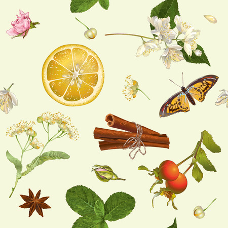 textile care: Vector herbal seamless pattern with linden,jasmine flowers,and cinnamon. Design for tea, natural cosmetics, baking,candy and sweets,grocery,health care products. Best for textile, wrapping paper.