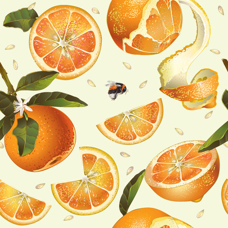 Vector orange seamless pattern. Background design for juice, tea, natural cosmetics, bakery with orange filling, farmers marcet, grocery ,health care products. Best for fabric, textile,wrapping paper. Vettoriali