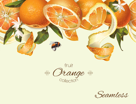 textile care: Vector orange seamless banner. Background design for juice, tea, natural cosmetics, bakery with orange filling, farmers marcet, grocery ,health care products. Best for fabric, textile, wrapping paper.