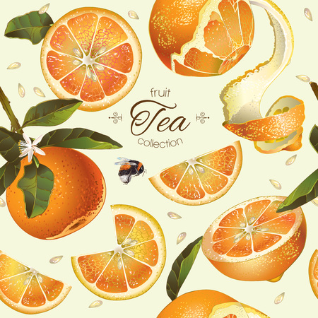 textile care: Vector orange tea seamless pattern. Background design for tea, natural cosmetics, bakery with orange filling, grocery ,health care products. Best for fabric, textile, wrapping paper. Illustration