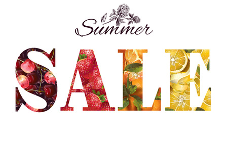 Vector summer sale banner with fruits and berries on wight background. Design for grosery, natural cosmetic, perfume, juice, tea, farmers market.