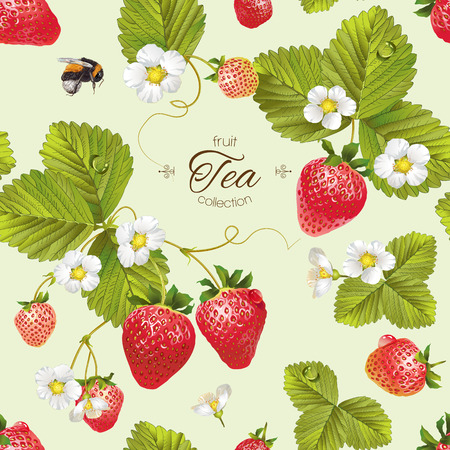 Vector strawberry tea seamless pattern. Background design for tea, juice, natural cosmetics, candy with strawberry filling, farmers marcet,health care products. Best for textile,wrapping paper.