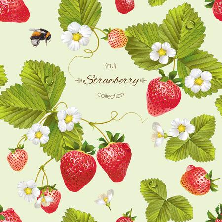 Vector aardbei naadloos patroon. Achtergrond ontwerp voor thee, sap, natuurlijke cosmetica, snoep en snoep met aardbeien vulling, boeren marcet, producten voor de gezondheidszorg. Beste voor textiel, inpakpapier.