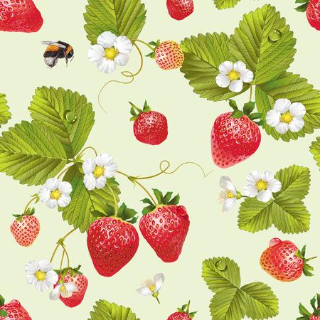 Wektorowy truskawkowy bezszwowy wzór. Projekt tła do herbaty, soku, naturalnych kosmetyków, słodyczy i cukierków z nadzieniem truskawkowym, rolnika marcet, produkty do pielęgnacji zdrowia. Najlepsze do tekstyliów, papieru do pakowania.