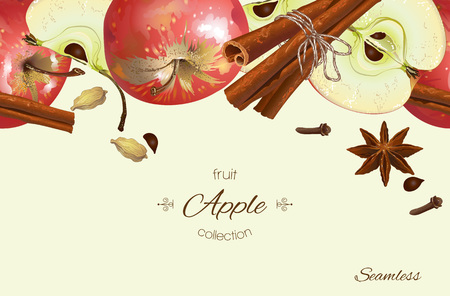 apple cinnamon: Vector apple seamless banner. Background design for tea, juice, natural cosmetics, sweets and candy with apple filling, farmers market,health care products. With place for text.
