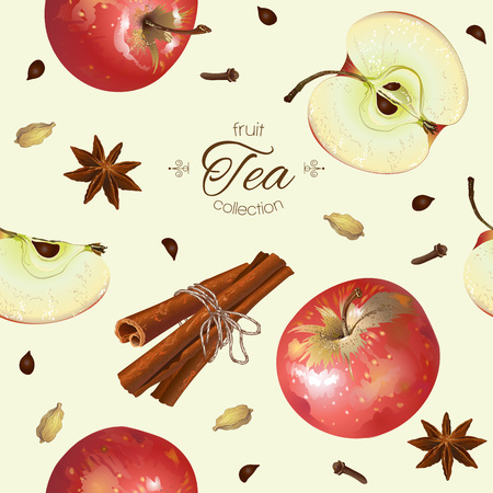 apple cinnamon: Vector apple tea seamless pattern. Background design for tea, juice, natural cosmetics, sweets and candy with apple filling, farmers market,health care products. Best for textile,wrapping paper.