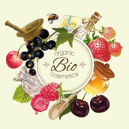 frutas y bayas vendimia del vector ronda de bandera cosmética con la miel y el mortero .Design de té de hierbas y frutas, cosméticos naturales, dulces, comestibles y productos para el cuidado de la salud.