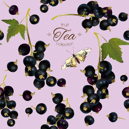 cosmetics products: Vector black currant tea seamless pattern. Background design for tea, ice cream, natural cosmetics, candy and bakery with black currant filling, health care products. Best for textile, wrapping paper.