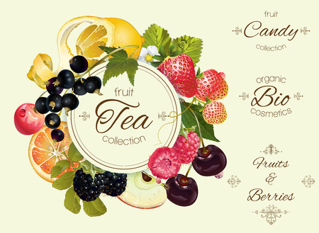 Vector vintage fruit and berry round banner .Design for tea, ice cream, jam, natural cosmetics, candy and bakery with fruit filling, health care products. Ilustração