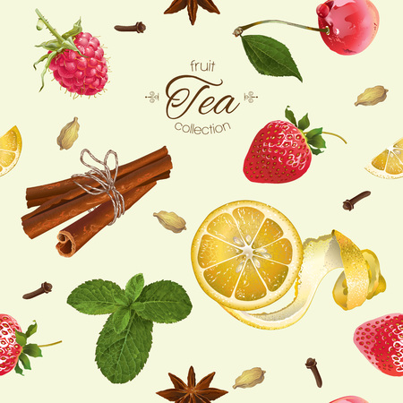 textile care: Vector aromatic tea seamless pattern with strawberry, lemon and cinnamon. Background design for tea, natural cosmetics, baking, sweets,grocery,health care products. Best for textile, wrapping paper.