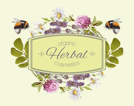 wilde bloemen en kruiden met hommels. Ontwerp voor kruidenthee, natuurlijke cosmetica, honing, producten voor de gezondheidszorg, homeopathie, aromatherapie. Kan gebruikt worden als ontwerp Stock Illustratie