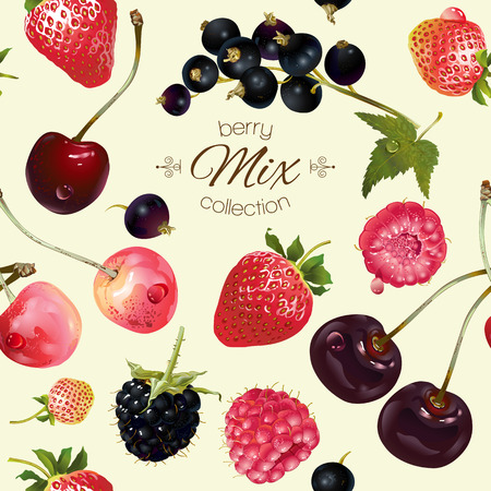 textile care: mix berries seamless pattern. Background design for tea, ice cream, natural cosmetics, candy and bakery with berries filling, health care products. Best for textile, wrapping paper.