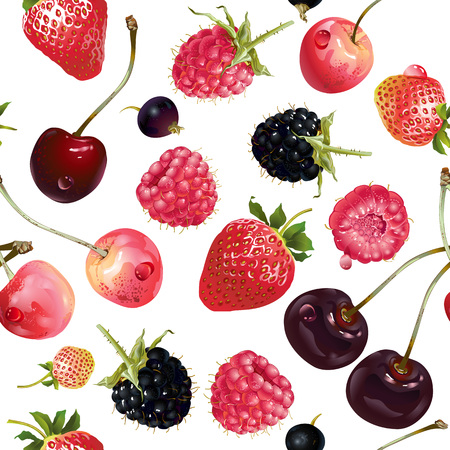 mix berries seamless pattern. Background design for tea, ice cream, natural cosmetics, candy and bakery with berries filling, health care products. Best for textile, wrapping paper.