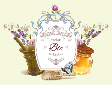homeopathy: herbal with mortar,honey,wild flowers and herbs. Design for herbal tea, natural cosmetics, health care products, homeopathy, aromatherapy. With place for text. Can be used as design