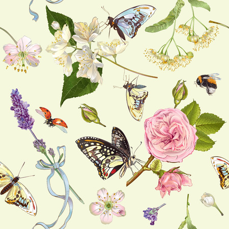 textile care: Herbal seamless pattern with rose,linden,jasmine,lavender flowers and butterflies.Design for tea,natural cosmetics,essential oil,candy and sweets ,health care products.Best for textile, wrapping paper