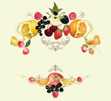 Jahrgang königlichen Obst- und Beeren composition.Design für vegeterian Menü, Tee, Eis, Saft, Marmelade, Naturkosmetik, Süßigkeiten und Backwaren mit Fruchtfüllung, Gesundheitspflegeprodukte. Mit Platz oder Text