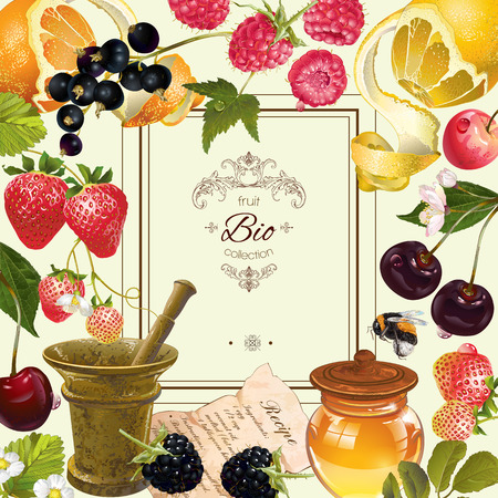 vintage fruit and berry frame. Design for vegeterian menu, tea, ice cream, juice, jam, natural cosmetics, candy and bakery with fruit filling, health care products. With place or text Ilustração